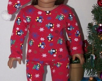 Christmas Eve Pajama Gift Box Set - Red with Penguins - fits 18 inch dolls