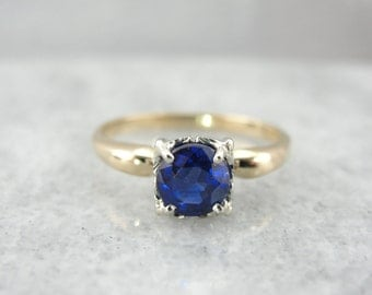Retro Era Royal Blue Sapphire Solitaire Ring 4FT3HW-R
