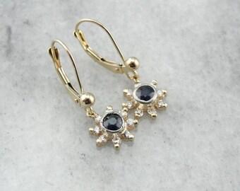 Antique Sapphire, Gold And Platinum Drop Earrings J2XKLK-P