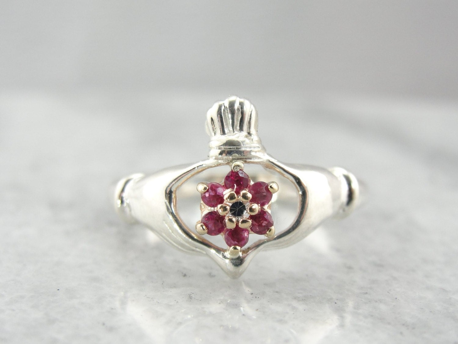 reserved unique floral claddagh ring with pink by msjewelers