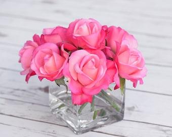Natural Touch Hot Pink Fuchsia Arrangement Centerpiece - Silk Artificial Roses Faux Home Decor - Wedding