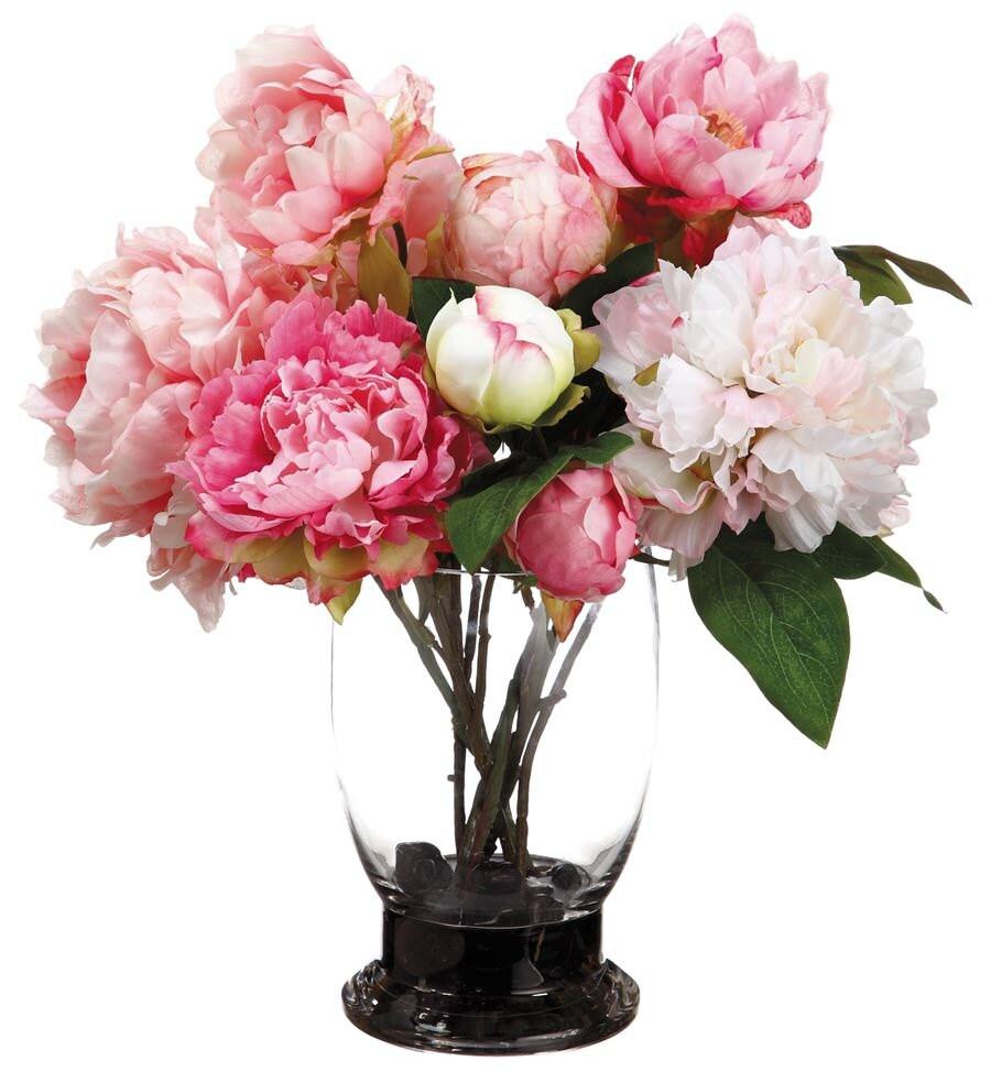 Silk Off White And Pink Peonies Arrangement Centerpiece