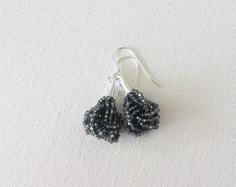 Charcoal earrings, seed bead earring, beaded earrings, seed bead earrings, dark gray earrings, knot earrings,bridesmaid gift,gift ideas