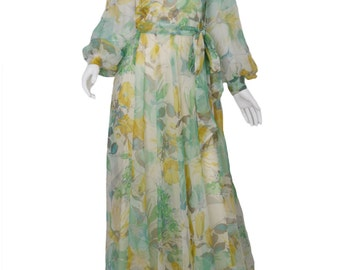 70s Floral Gown Huge Sweep / 70s Floral Maxi Dress