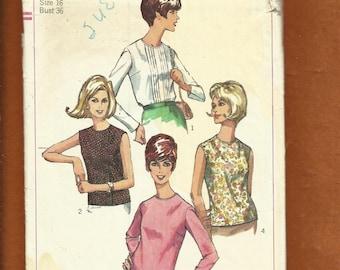 Vintage 1966 Simplicity 6449 Classic 60's High School Blouses Size 16