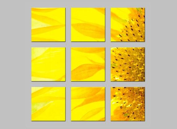 Yellow Sunflower Macro. Flower. Tic Tac Toe Photo Split. Nine Metal Prints. Nature Photography. FREE SHIPPING.