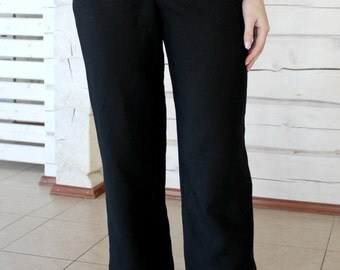 Black Linen Trousers With Two Front Pockets