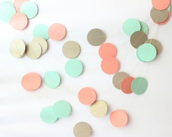 Gold, Coral & Mint Paper Garland, Wedding Garland, Baby Shower Decoration,  Bridal Shower Decor, Rustic Decor, Reception Decor, Baby Girl