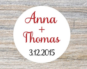 Custom Wedding Stickers, Personalized Stickers, Red Wedding Favors, Favor Bag Stickers, Envelope Seals, Gift Tag Sticker, Rustic Favors