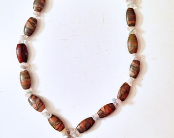 Peach and turquiose stone look necklace