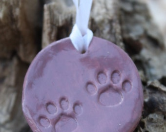 Ceramic Round Paw Print Ornment or Decoration for the Pet Lover!