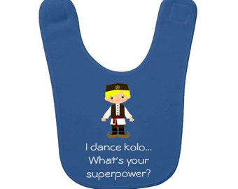 Customized Serbian Boy Kolo Dancer Baby Bib