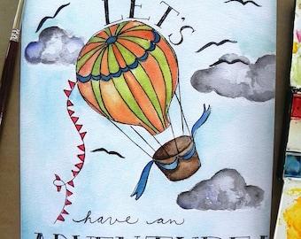 Children's Art/ Kids Art Print/ Balloon Adventure- 8x10