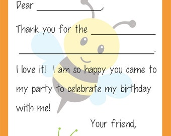 Kids Fill In the Blank Thank You Cards for Boys (Bugs: Worms, Ants, Grasshopper, Spiders)