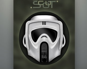 Star Wars Inspired Biker Scout Helmet (Detailed Version) 11X14 Fine Art Print Herofied Helm