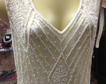 Cream Handbeaded Flapper Dress