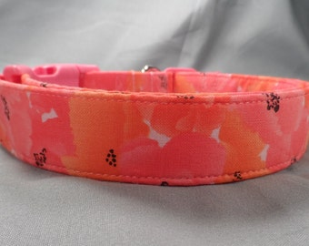 Hot Pink Flowers Poppy Dog Collar