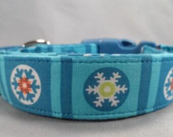 Snowflake Dog Collar, Snowflake Blocks on Blue