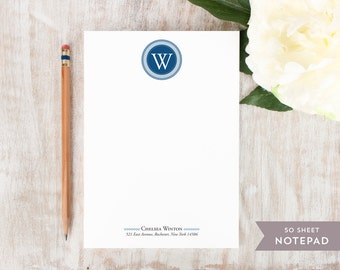 Personalized Notepad - CIRCLE MONOGRAM  - Stationery / Stationary Notepad