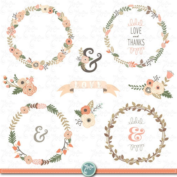 Clipart Flowers Wedding Invitation Clipart Flowers: Wreath Clip Art WEDDING FLOWER WREATH