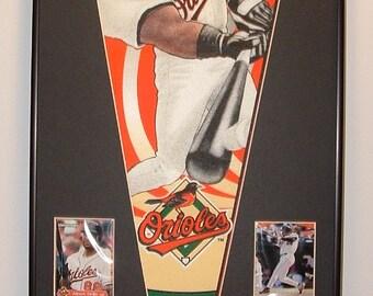 Baltimore Orioles Albert Belle Pennant & Cards...Custom Framed!!!