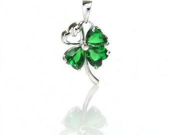 925 Sterling Silver Four Leaf Pendant with Green Zircon, Pkg of 1pc, CB065