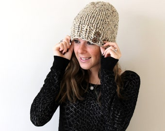 Button Hat Knit Beanie Oatmeal- Severna Hat