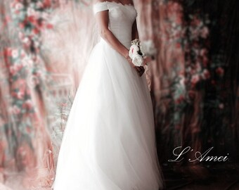 Sale Affordable Princess Style Tulle Ball Gown Wedding Dress Classical Simple Off Shoulder Design