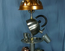 """Recycled and found object table lamp """"Cooks Lamp"""" By Vicki Hudson"""