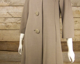 Taupe Mink Collar Coat // 1960s Outerwear