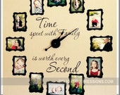 Time Spent with Family Decal, Time Spent with Family Clock Decal, FAMILY PHOTO Wall Clock Kit, Vinyl Lettering Decal & Mechanism