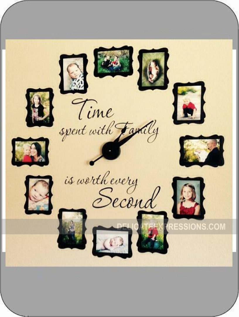 Time Spent With Family Clock Decal Large Family Photo Wall