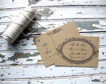 Rustic Kraft Save the Date Postcard, Modern Rustic Wedding, Vintage Save the Date, Eco Friendly, Rustic Save the Date