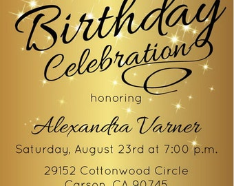 Gold Glitter Shoes Adult Birthday Party Invitation Printable