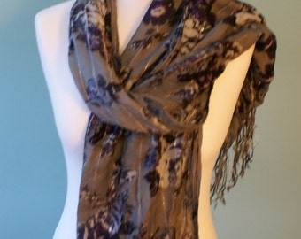 Monsoon Lovely grey shawl, scarf with floral pattern