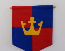 Crown Mini Banner, Medieval, Knights and castles, Red, Blue, Yellow, Children, Wall hanging, Nursery, Treehouse, Girls, Boys, Playroom
