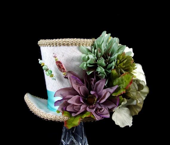 Purple, Mint, Teal, and Tan Flower Garden Large Mini Top Hat Fascinator, Alice in Wonderland, Mad Hatter Tea Party, Derby Hat