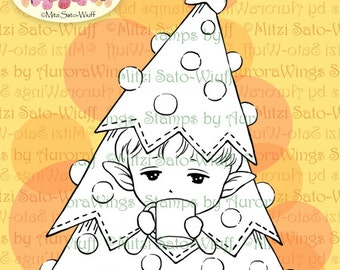 PNG Digital Stamp - Little Christmas Tree - Elf in Tree Costume - Whimsical Holiday Line Art for Cards & Crafts by Mitzi Sato-Wiuff