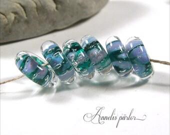 SRA handmade lampwork beads, glass discs, Artisan lampwork beads, Swedish glass crafts