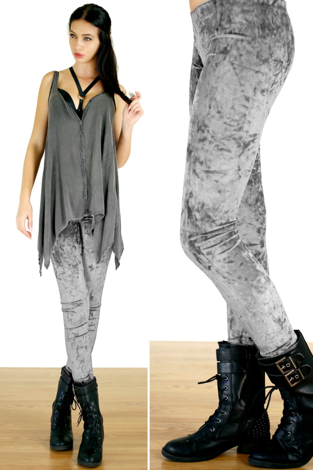 90u0026#39;s Silver Gray Grunge Crushed Velvet Leggings