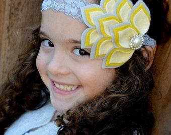 Felt Petal Headband - Yellow and Gray Headband - Felt Flower Headband - Felt Headband - Headbands for Girls - Dahlia Headband - Headbands