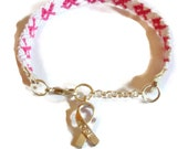 Embroidery Macrame Breast Cancer Awareness Bracelet With Lobster Clasp & Charm