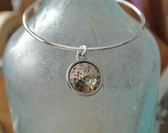 Adjustable Bangle Bracelet, Swarovski Pantina Charm, rose patina, black patina, crystal patina, gold patina
