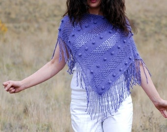 PURPLE Short Fringe Poncho. Violet Mauve Orchid Fall All Seasons Cropped Light Sweater Cardigan Alternative. Hand Knitted Fashion Garment.