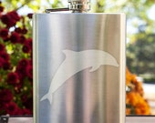 Dolphin Customizable Etched Stainless Steel Flask/ Flask Giftset Barware Gift