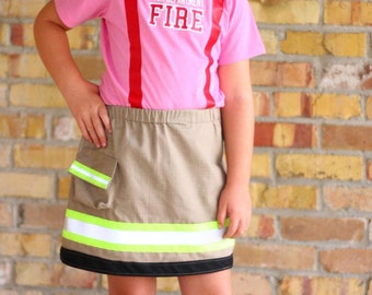 Personalized Firefighter Girl Skirt Outfit with Custom Fire Department Name on Shirt Halloween Costume