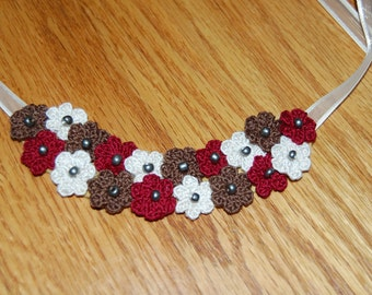 Crochet Flower Bunch Necklace Medium