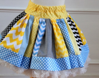 alice in wonderland skirt girls alice in woderland birthday outfit yellow, blue and black chevron polka dot skirt chevron polka dot skirt