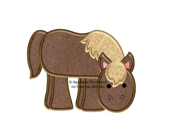Horse - 3 sizes - Western Applique Design - Instant EMAIL With Download