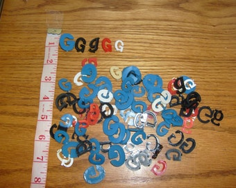 vintage LETTERS multi colored Gg  sign letters plastic small letters lot